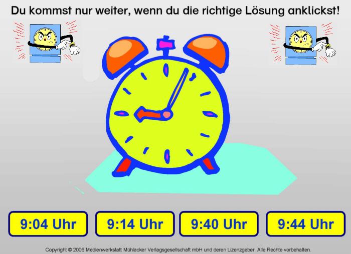 Uhrzeit 2 - Startkarte (ab Klasse 2) - Medienwerkstatt-Wissen u00a9 2006-2017 Medienwerkstatt