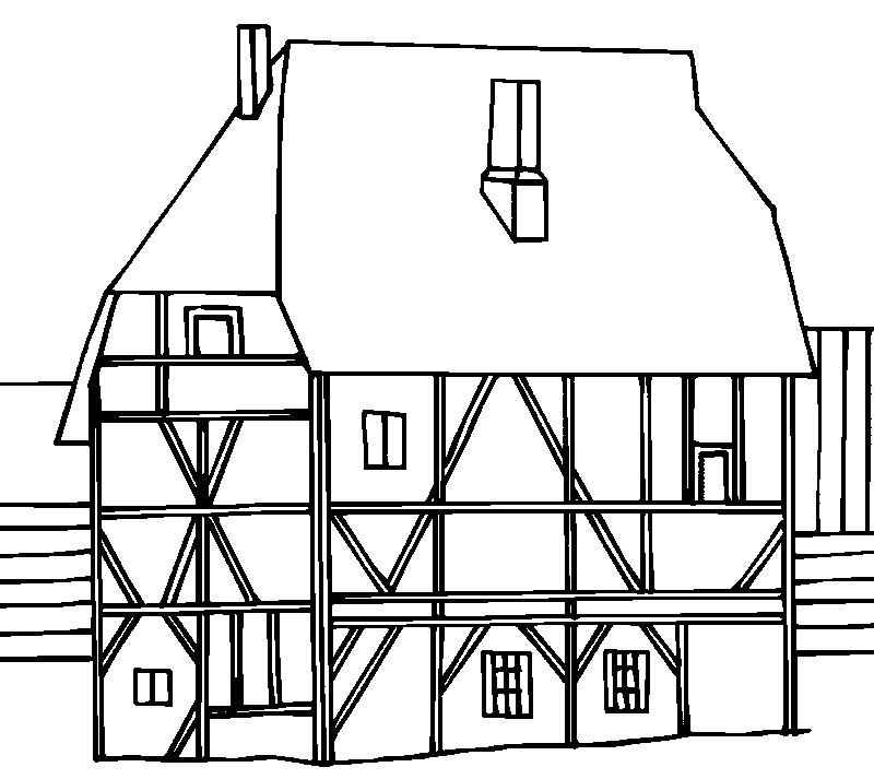 Umrisszeichnungen fachwerkh user medienwerkstatt wissen for Fachwerkhaus skizze