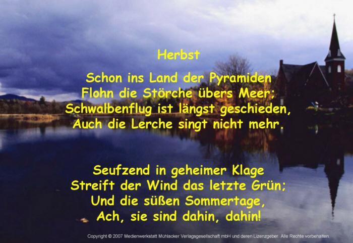 Theodor Storm Gedichte Herbst