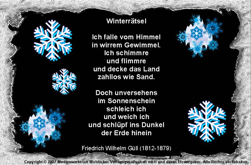 Winterrätsel (Friedrich Wilhelm Güll) - Medienwerkstatt-Wissen ... Halle