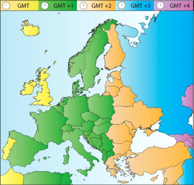 europa zeitzonen karte