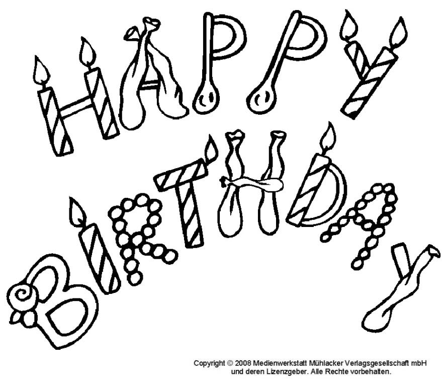 Happy Birthday  Umrissschrift zum Ausmalen  Medienwerkstatt