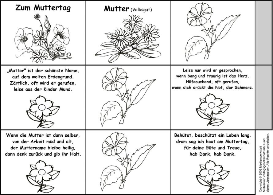Leporello - Gedicht: Mutter 2 (Bilder zum Ausmalen ...