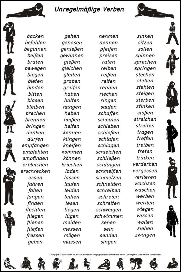 Bei diesen verben sind viele formen anders als bei den regelmäßigen