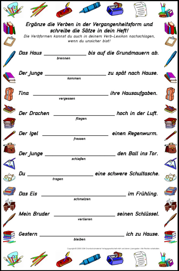 unregelmaessige verb praesens tabelle: