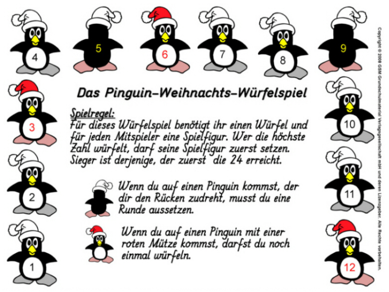 pinguin weihnachts w rfelspiel medienwerkstatt wissen. Black Bedroom Furniture Sets. Home Design Ideas