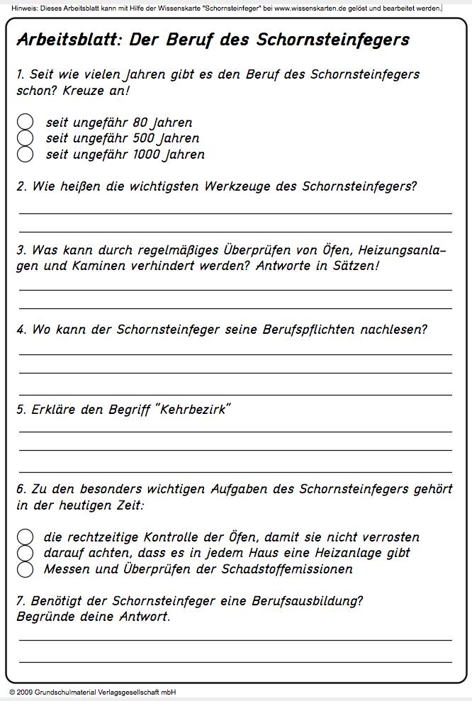 Arbeitsblatt Berufe Und Arbeit : Arbeitsblatt beruf des schornsteinfegers