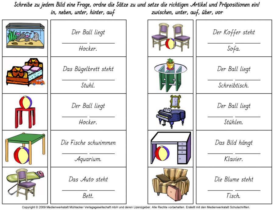 Deutsch als Fremdsprache DaF DaZ Grammatik Schaubilder