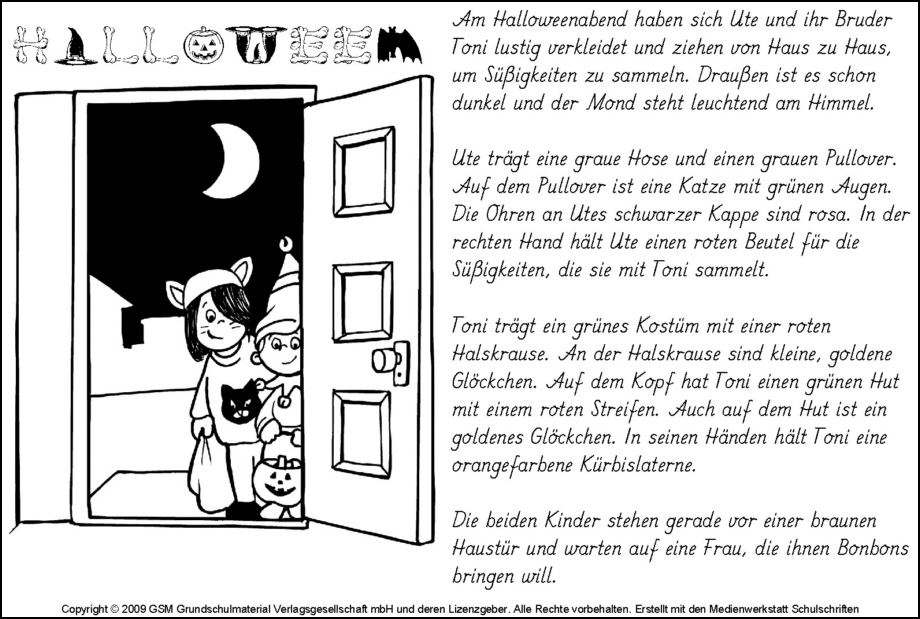 Lese-Mal-Blatt Halloween 1 - Medienwerkstatt-Wissen © 2006-2017 ...