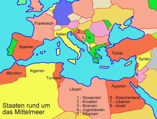Staaten rund um das mittelmeer