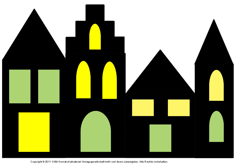 Fensterbild h user mit transparentpapier 2 - Fensterbilder grundschule vorlagen ...