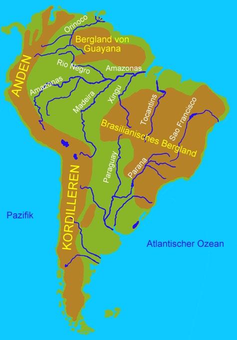 Karte Von Sudamerika Die Namen Der Stock Vektorgrafik Lizenzfrei