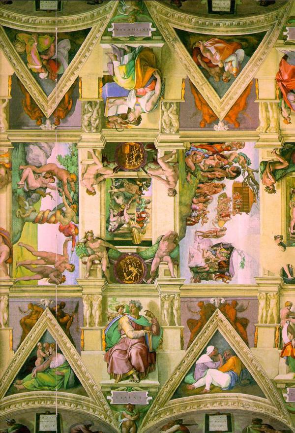 Michelangelo deckenfresko in der sixtinischen kapelle for Decorazione quattrocentesca della cappella sistina