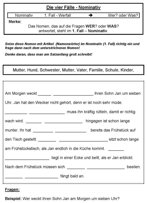 Vier Fälle - Nominativ - Arbeitsblatt - Medienwerkstatt-Wissen ...