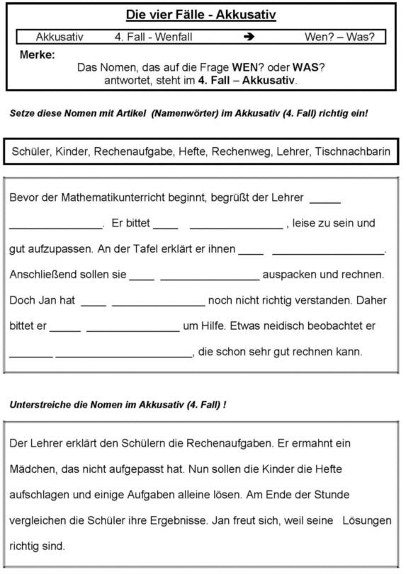 Vier Fälle - Akkusativ - Arbeitsblatt - Medienwerkstatt-Wissen ...
