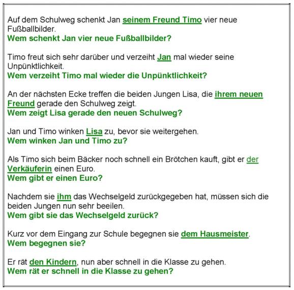 Vier Fälle - Dativ - Arbeitsblatt - Lösung - Medienwerkstatt-Wissen ...