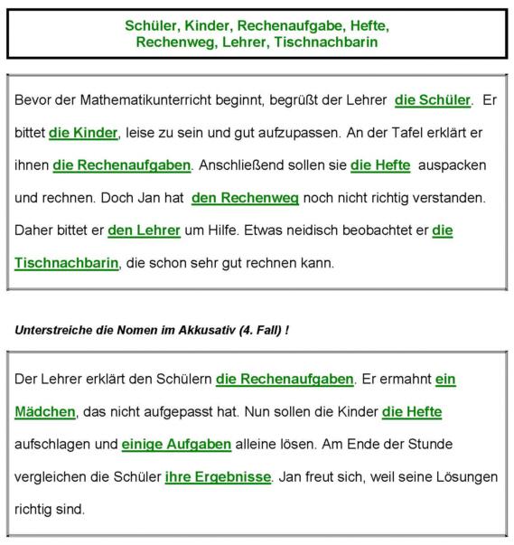 Vier Fälle - Akkusativ - Arbeitsblatt - Lösung - Medienwerkstatt ...