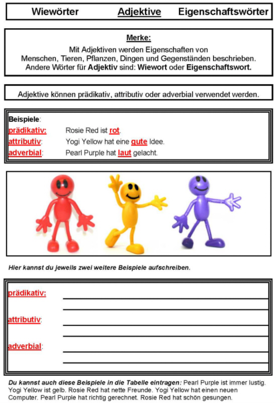 Adjektiv - Arbeitsblatt 1 - Medienwerkstatt-Wissen © 2006-2017 ...