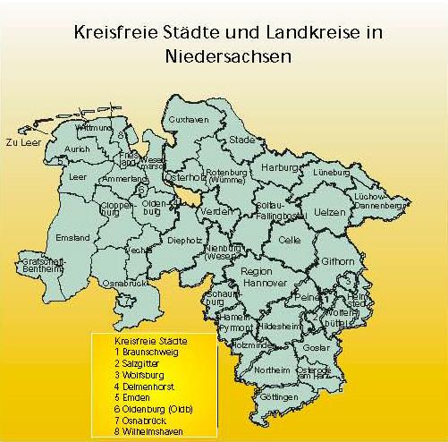 Kreisfreie Stadte Und Landkreise In Niedersachsen Medienwerkstatt Wissen C 2006 2021 Medienwerkstatt