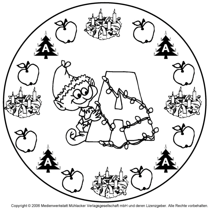 weihnachts wichtel buchstaben mandala zum a. Black Bedroom Furniture Sets. Home Design Ideas