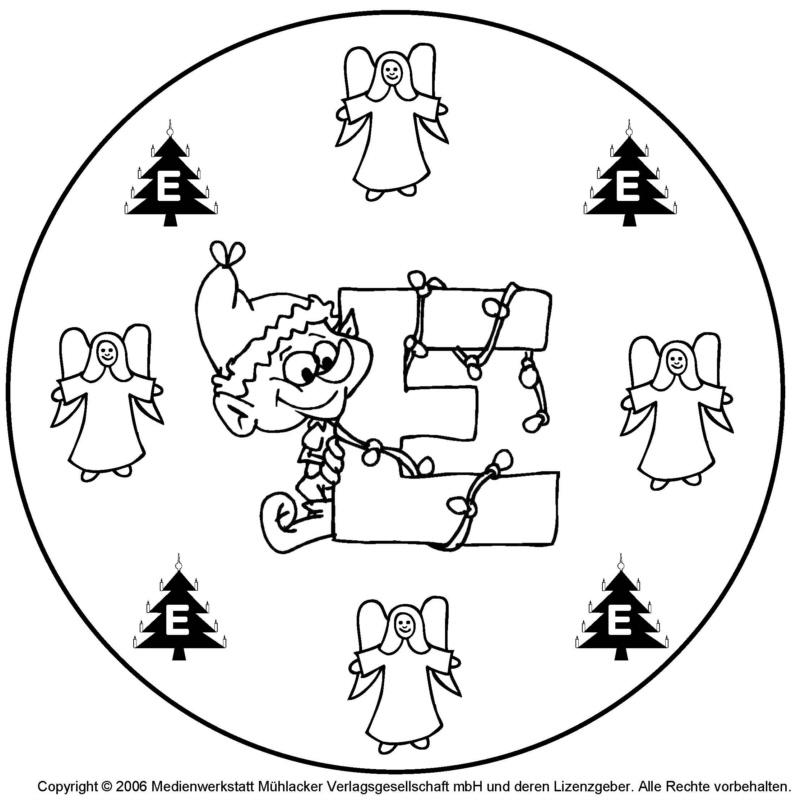 weihnachts wichtel buchstaben mandala zum e. Black Bedroom Furniture Sets. Home Design Ideas