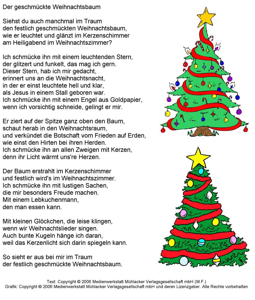 Mein weihnachtsbaum gedicht