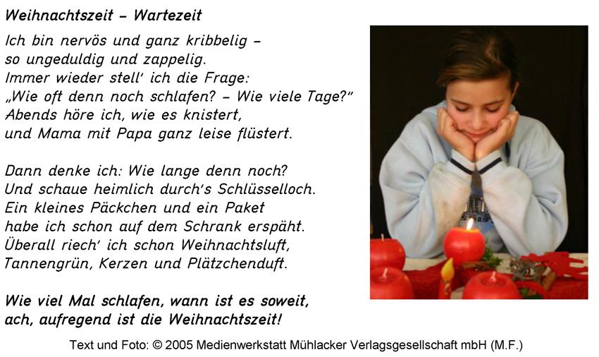 Gedichte Zu Weihnachten.Gedicht Weihnachtszeit Wartezeit Medienwerkstatt Wissen