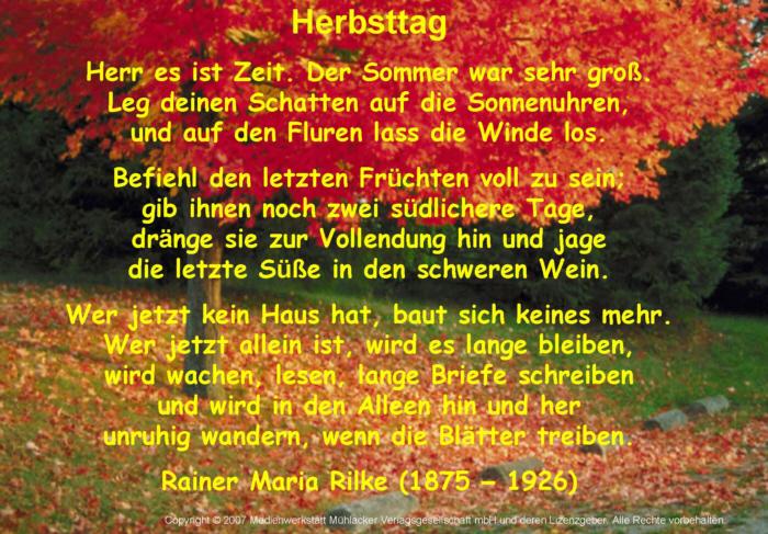 Herbsttag Rainer Maria Rilke Horbeispiel Medienwerkstatt Wissen