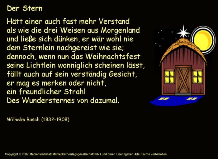 Weihnachtsgedichte Von Wilhelm Busch.Der Stern Wilhelm Busch Hörbeispiel Medienwerkstatt Wissen
