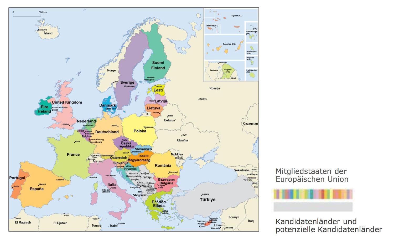 Karte Eu.Karte Von Europa Europäische Union Medienwerkstatt Wissen 2006
