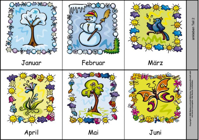 Leporello zu den zwölf Monaten 1 (Farbige Abbildungen