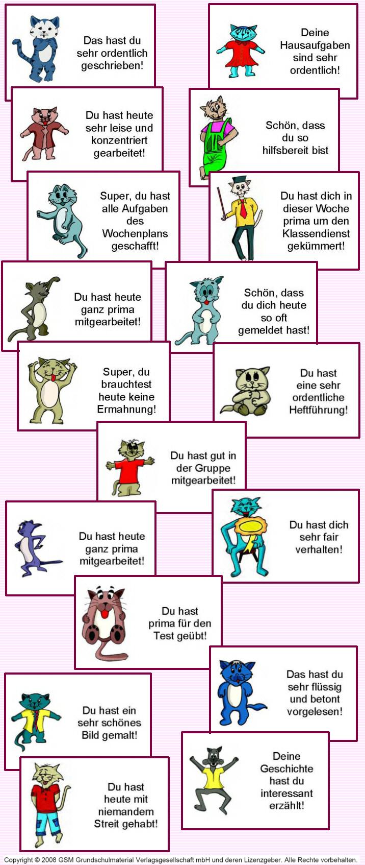Beispiele für Lob- und Fleißkärtchen - Medienwerkstatt-Wissen © 2006 ...