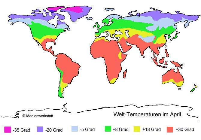 temperatur weltkarte Welt Temperaturen im April   Medienwerkstatt Wissen © 2006 2017  temperatur weltkarte
