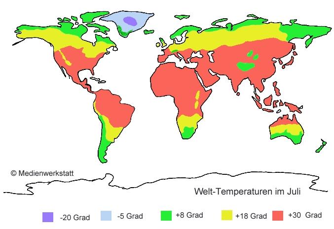 temperatur weltkarte Welt Temperaturen im Vergleich   Medienwerkstatt Wissen © 2006  temperatur weltkarte