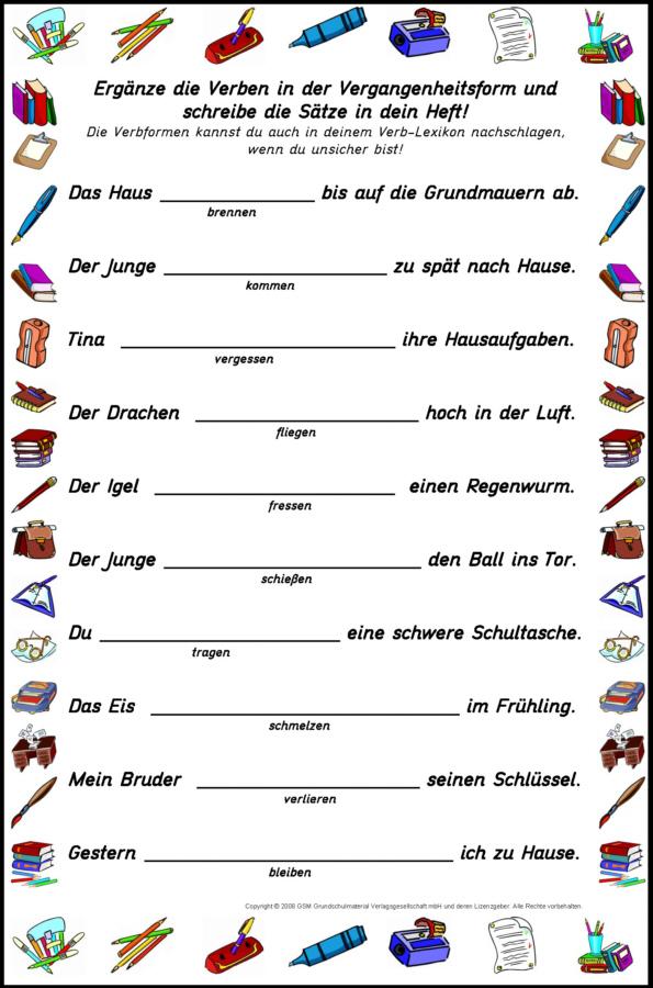 Unregelmäßige Verben - Arbeitsblatt: Zeitformen üben 2 ...