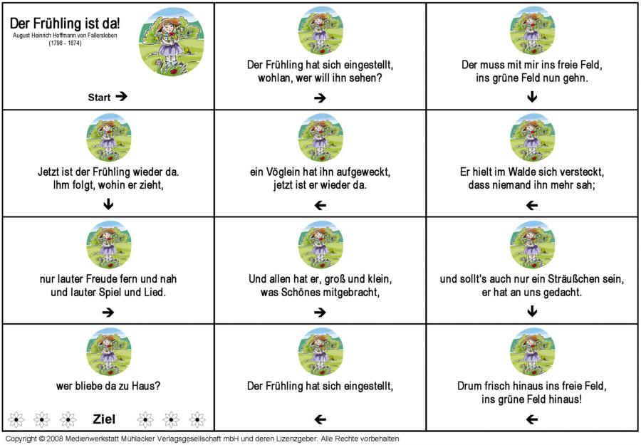 Gedicht-Domino: Der Frühling ist da (August Heinrich Hoffmann von ...