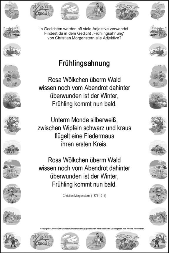 Adjektive Suchen Frühlingsahnung Christian Morgenstern