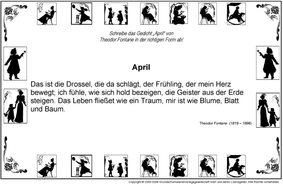 Gedichte Richtig Aufschreiben April Theodor Fontane