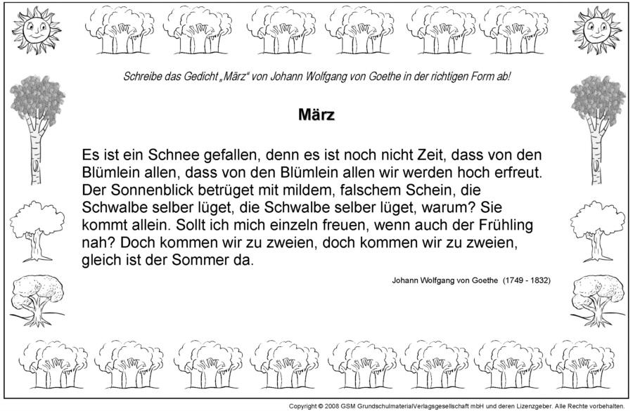 Gedichte Richtig Aufschreiben März Johann Wolfgang Von