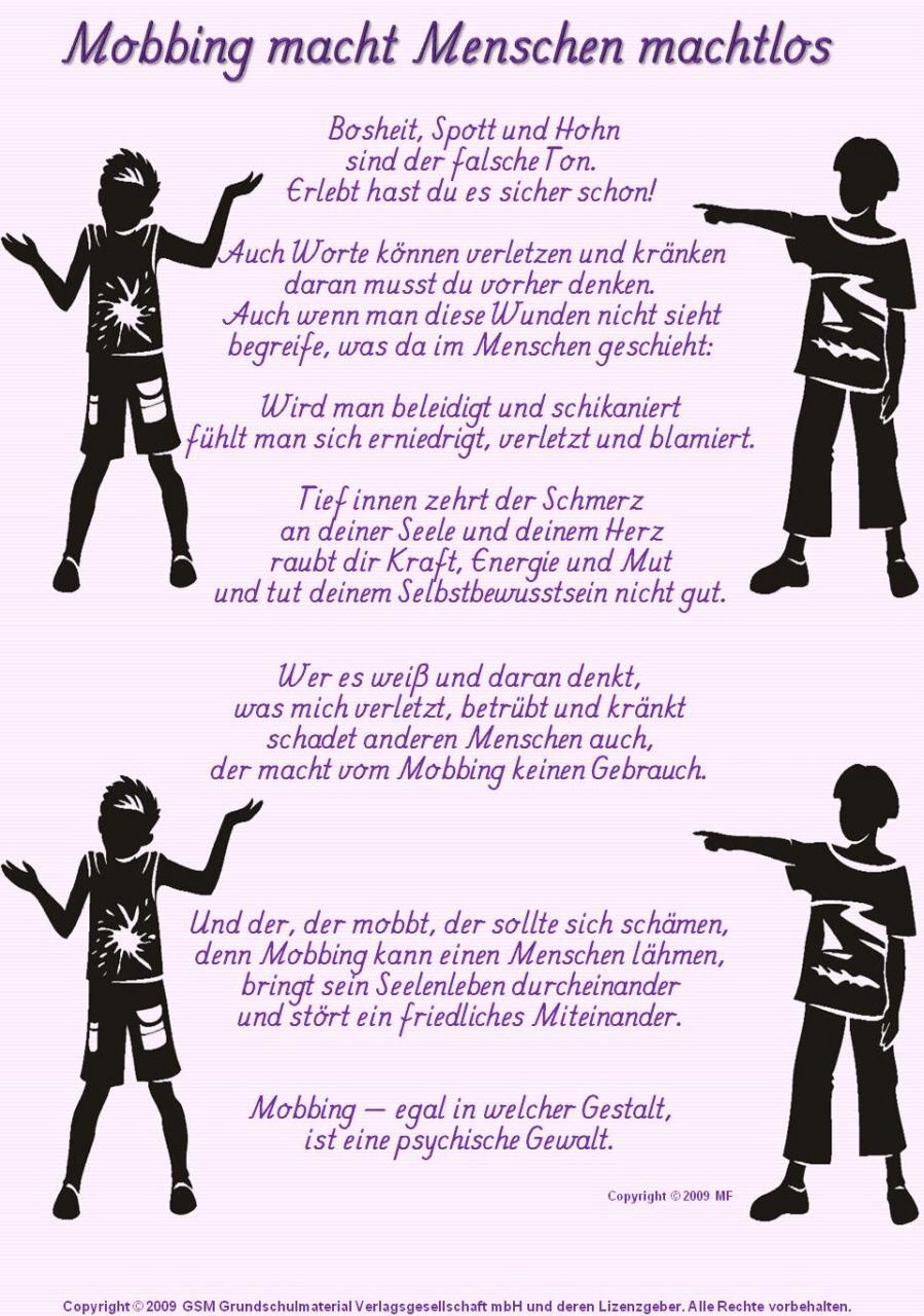 Mobbing Macht Menschen Machtlos Gedicht Ton