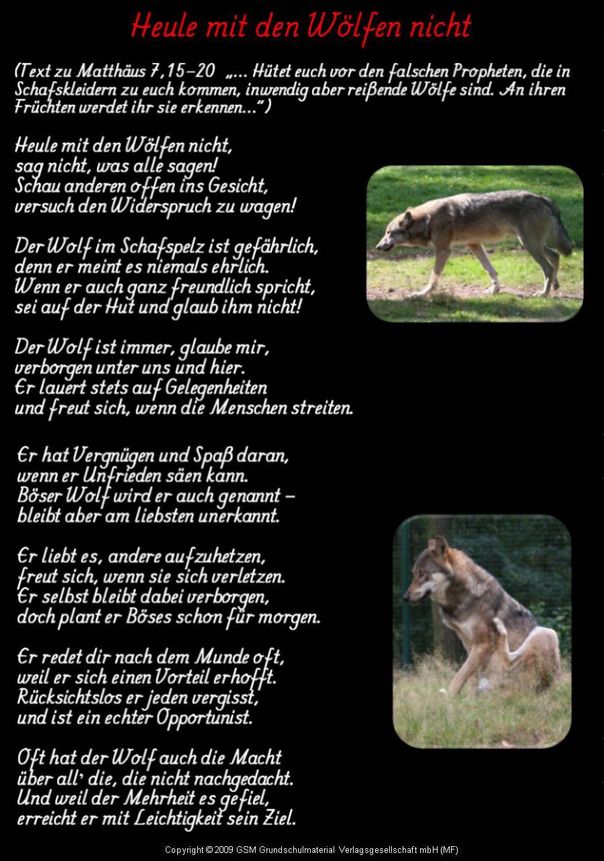 Heule Mit Den Wölfen Nicht Gedicht Ton