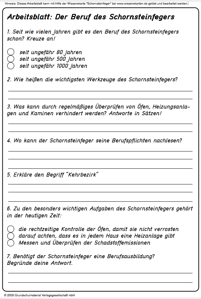 Arbeitsblatt - Beruf des Schornsteinfegers - Medienwerkstatt-Wissen ...