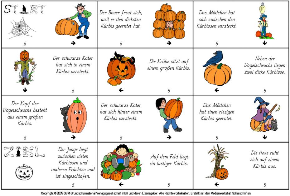 Herbst Lese Domino / Kürbisse   Medienwerkstatt Wissen © 2006 2017