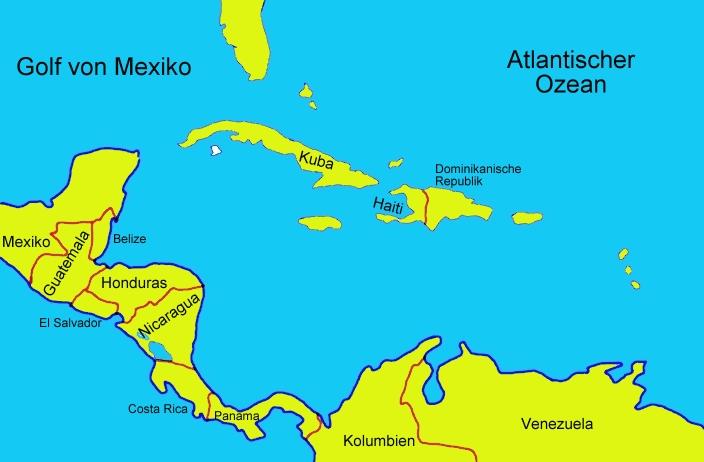 Karte Von Mittelamerika Beschriftet Medienwerkstatt Wissen