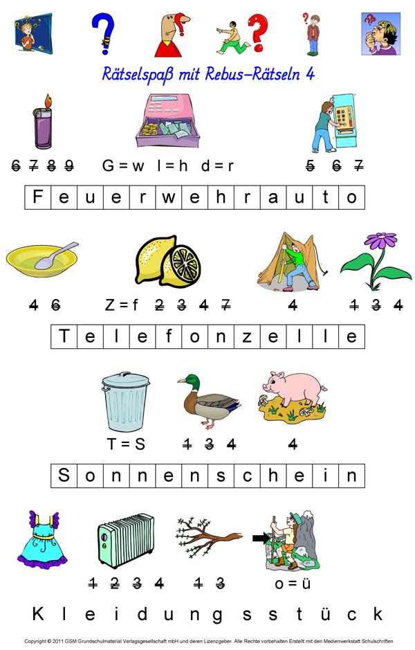 Niedlich Rebus Worträtsel Arbeitsblatt Zeitgenössisch - Super ...