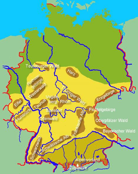 gebirge in deutschland karte Übersicht über die deutschen Gebirge   Medienwerkstatt Wissen  gebirge in deutschland karte
