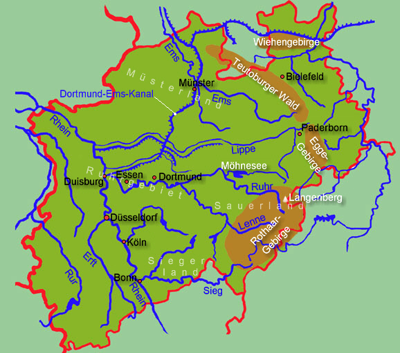 Nordrhein Westfalen Karte.Nordrhein Westfalen Allgemein Medienwerkstatt Wissen