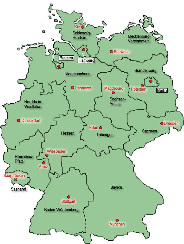 deutschland bundesländer karte Karte der Bundesländer   Medienwerkstatt Wissen © 2006 2017  deutschland bundesländer karte