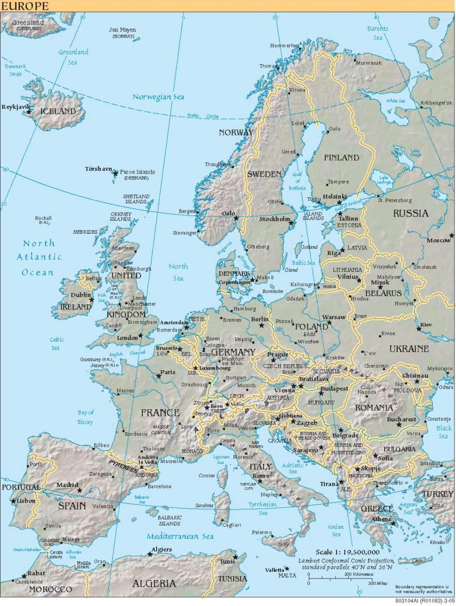 Karte Von Europa Engl Beschriftung Medienwerkstatt Wissen