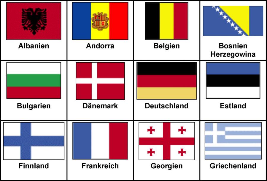 Flaggen der europäischen Länder in alphabetischer Reihenfolge ...